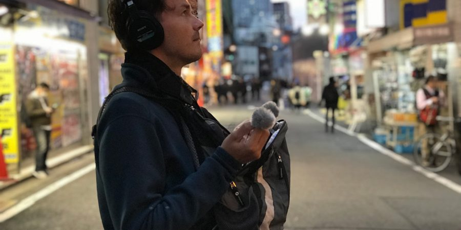 Street recording with DPA 4060s in Rycote windjammers.