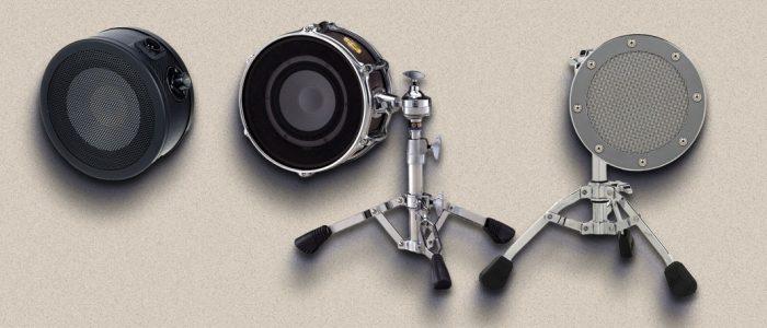 Subkick microphones: Yamaha's SKRM100, Solomon's LoFReQ and DW's Moon Mic.